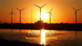 Beautiful presentation theme with sun set view of lots of wind turbines beside a lake
