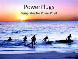 Colorful PPT theme having sun set view of surfers coming out of an ocean