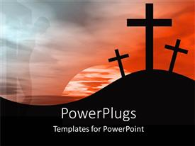 Beautiful presentation design with sun set view of three crosses on a hilly landscape