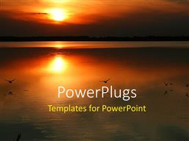 PPT theme featuring sunset over water with birds flying above water and sun in the background
