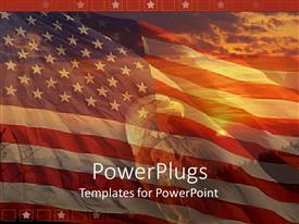 Presentation theme consisting of a sunset view of a bald head eagle over an American flag