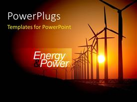 Electrical engineer powerpoint templates crystalgraphics beautiful ppt theme with sunset view of lots of energy making wind turbines toneelgroepblik Choice Image