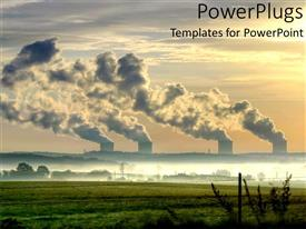 PPT theme enhanced with the sunset View with Nuclear power Stations