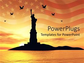 Presentation design having sunset view of a tall statue of liberty with an American flag