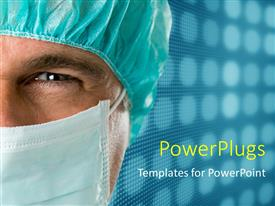 Presentation theme having a surgeon with a bluish background