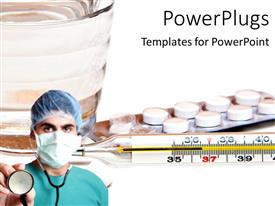 Audience pleasing PPT theme featuring a surgeon with a number of medicines in the background