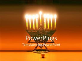 5000 jewish powerpoint templates w jewish themed backgrounds amazing ppt theme consisting of symbol of jewish holiday hanukkah with lighted candles on bronze stand template size toneelgroepblik Images