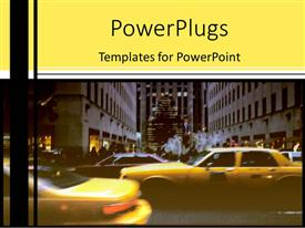 PPT theme featuring taxi cabs with tall buildings and yellow background