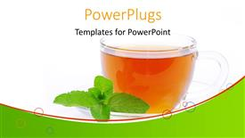 Elegant PPT theme enhanced with transparent cup filled with tea and mint leaf on white background