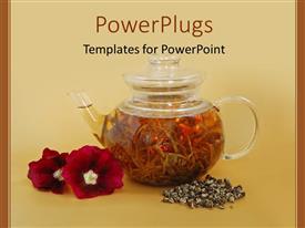 Elegant presentation theme enhanced with a tea pot holding tea with flowers along side the tea pot
