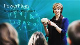 Colorful presentation having teacher holding model of brain, head full of numbers