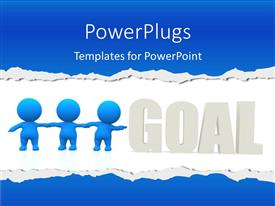 Elegant presentation theme enhanced with team of 3D blue colored men stretching towards a set GOAL