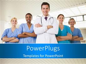 Elegant PPT theme enhanced with team of doctor and nurses smiling with hands folded across chest