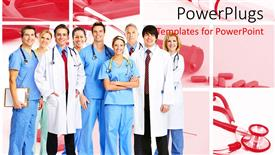 Elegant PPT theme enhanced with team of doctors and nurses wearing stethoscopes and smiling at the camera