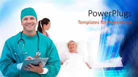 PPT theme consisting of a surgeon with a patient in the background