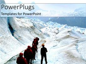 PPT theme consisting of team of hikers walking on a snow filled mountain