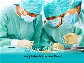 PPT theme with a team of three surgeons performing an operation on a patient