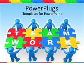 Presentation having team work graphics with people holding puzzle to problem on blue background