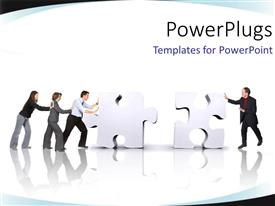 Elegant presentation enhanced with team working together push jigsaw puzzle pieces into position