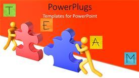 PPT layouts having teamwork depiction as 3D men push puzzle pieces into position