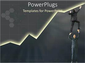 PPT layouts featuring teamwork to build sales marketing and business grey background