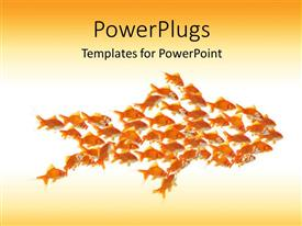 Colorful PPT layouts having teamwork depiction with small goldfishes moving in shape of larger goldfish
