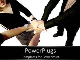 Presentation theme having teamwork holding hands together business team group collaboration deal
