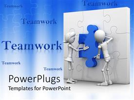 Amazing PPT layouts consisting of teamwork with man and woman putting blue piece in white puzzle