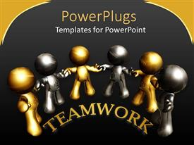 Presentation design having teamwork metaphor with silver and gold 3D people holding hands