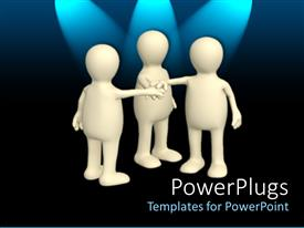 PPT layouts featuring teamwork metaphor with three white humans touching hands