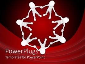 Audience pleasing PPT theme featuring teamwork unity metaphor with white figures holding hands in a circle