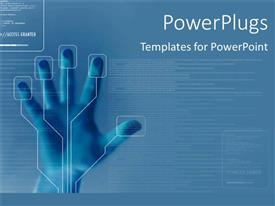 Elegant theme enhanced with technology for finger printing identity security on blue background