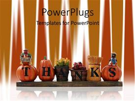 Colorful PPT layouts having thanks written on autumn related items, pumpkins, corns in basket, thanksgiving decoration