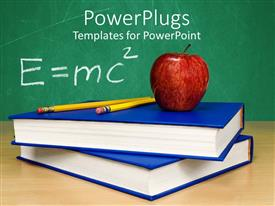 Amazing PPT theme consisting of theory of relativity apple on top of stacked books and two pencils
