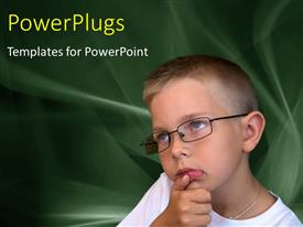 Amazing slide set consisting of thoughtful young boy with eye glasses on abstract background