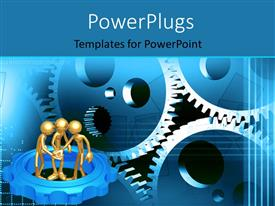 Amazing PPT theme consisting of three 3D gold plated men working together with connected gears
