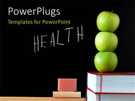 Slides consisting of three apples on book stack with HEALTH written on blackboard