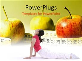 Slides featuring three apples with a measuring tape around then and a lady performing yoga