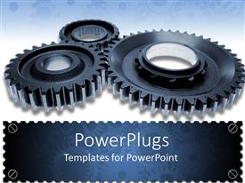 Colorful presentation theme having three black gears turning together on white background