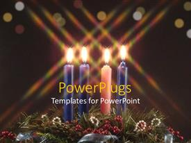 Beautiful PPT layouts with three blue candles and a pink one on some ornaments