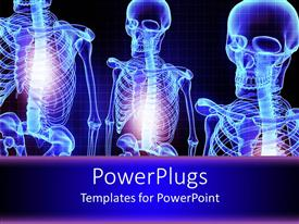 PPT theme featuring three blue shinning 3D human skeletons over a blue background