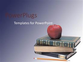 PPT layouts with three books piled up with a red apple and a pencil