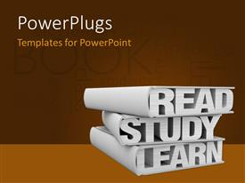 Colorful presentation theme having three books with the words: read study learn