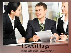 Slides enhanced with three business people smiling and happily having a meeting