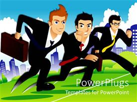 Elegant slide deck enhanced with three businessmen in suits running race