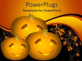 Colorful PPT theme having three carved pumpkins with smiling faces in black background