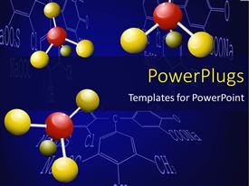 Presentation design having three chemical molecules with yellow and red colored nodes