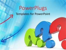Beautiful PPT theme with three colored question marks laid on one another with blue color