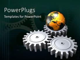 PPT layouts enhanced with three connected chrome gear wheels with earth globe sitting on one