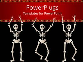Elegant slide deck enhanced with three dancing skeletons against a red and black background with yellow stars